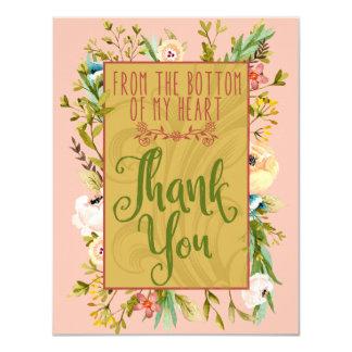 Unterseite meines Blumen Herzens danken Ihnen zu Karte