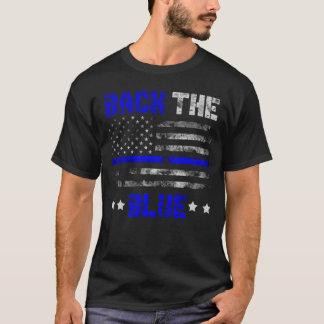 Unterstützen Sie die blaue dünne Linie T-Shirt