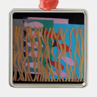 Unterwasser Quadratisches Silberfarbenes Ornament