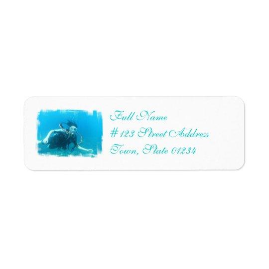 Unterwasseratemgerät-Mädchen-Postsendung-Aufkleber Rückversand-Adressaufkleber