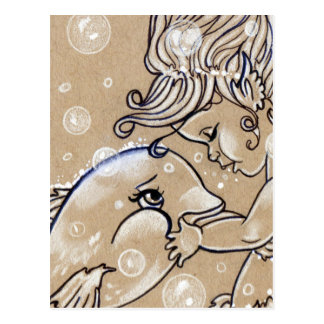 Unterwasserfreund-Delphin-Meerjungfrau-Postkarte Postkarte
