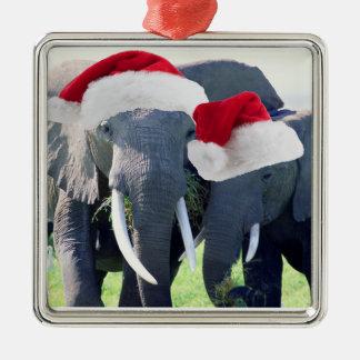 Unvergessliches Elefant-Weihnachten Silbernes Ornament