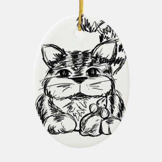 Unwahrscheinliche Freunde Katze und Maus Keramik Ornament