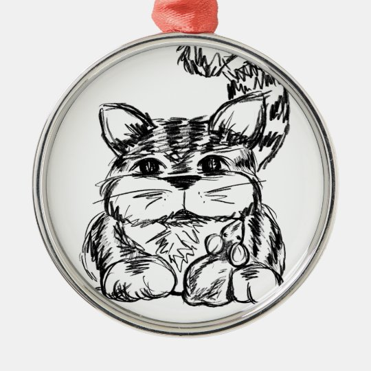 Unwahrscheinliche Freunde Katze und Maus Rundes Silberfarbenes Ornament