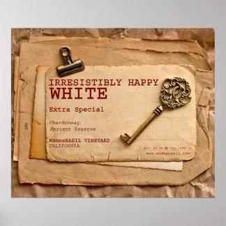 Unwiderstehlich glückliches weißer Wein-Plakat! Poster