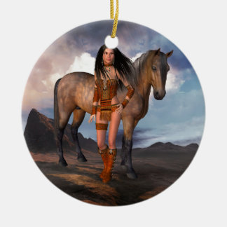 Ureinwohner-Mädchen-Bucht-Pferd Keramik Ornament