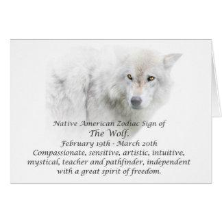 Ureinwohner-Tierkreis-Zeichen der Wolf Karte