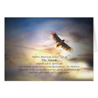 Ureinwohner-Tierkreis-Zeichen des Falken Karte