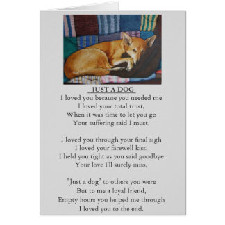 ursprüngliche Gedichtkarte des Hunde- und Karte