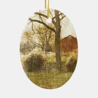 Ursprüngliche Land-Baumfarm-rote Kabine im Holz Ovales Keramik Ornament