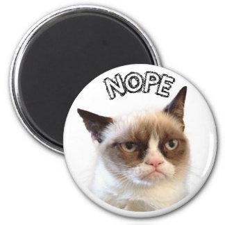 """Ursprüngliche mürrische Katzen-runder Magnet """"NOPE"""