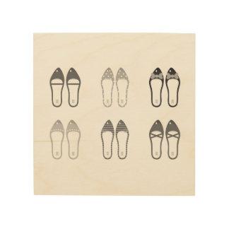 Ursprünglicher Entwurf mit stilvollen Schuhen Holzleinwand