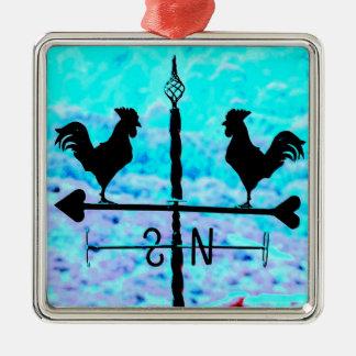 Ursprünglicher schwarzer Wetterfahne-Hähne Quadratisches Silberfarbenes Ornament