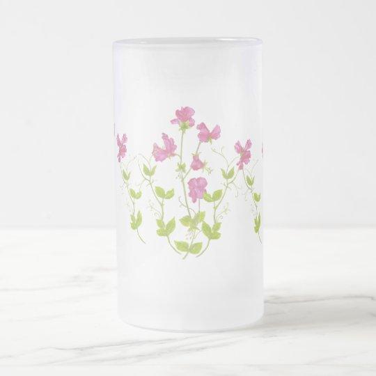 Ursprünglicher Watercolor-süße Erbse, Garten-Blume Matte Glastasse