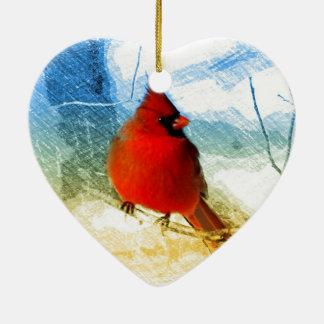 Ursprünglicher Westernlandweihnachtsrot-Kardinal Keramik Herz-Ornament