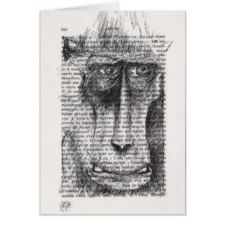 Ursprüngliches Zeichnen des Affen auf Vintagem Karte