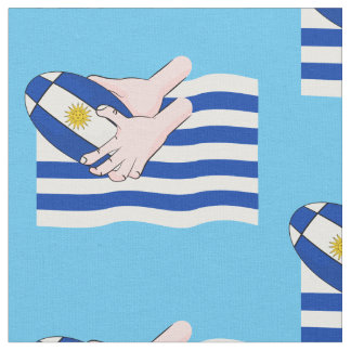 Uruguay-Flagge mit Cartoon-Rugby-Ball Stoff