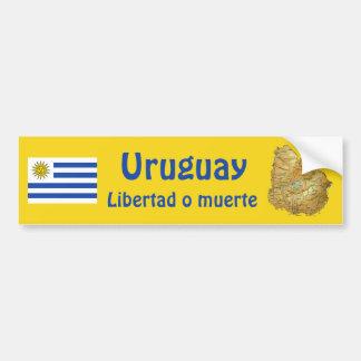Uruguay-Flagge und Karten-Autoaufkleber Autoaufkleber