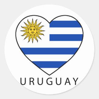 Uruguay Heart black URUGUAY Runder Aufkleber