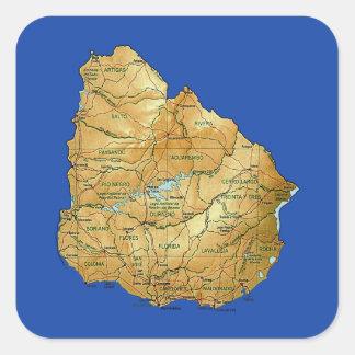 Uruguay-Karten-Aufkleber Quadratischer Aufkleber