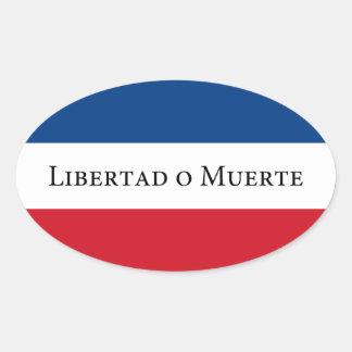 Uruguay-/Uruguayan-33 Flagge. Libertad Muerte Ovaler Aufkleber
