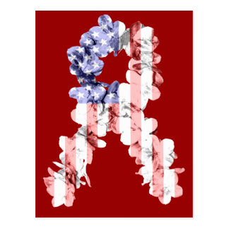 US Flagge-Blumen-Band Postkarte