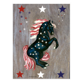 US Flagge, das Stallions-Postkarte aufrichtet Postkarte