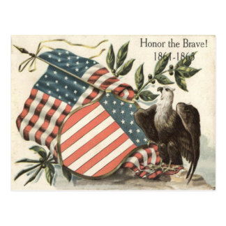 US-Flaggen-Eagle-Schild-Volkstrauertag Postkarte