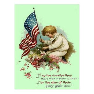 US-Flaggen-KinderKranz-Volkstrauertag Postkarte