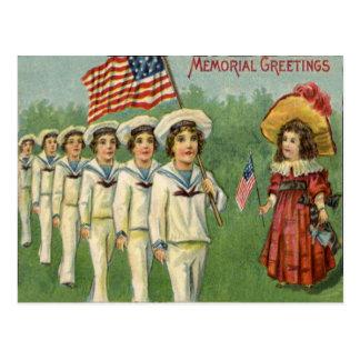 US-Flaggen-Kinderparade-Volkstrauertag Postkarte