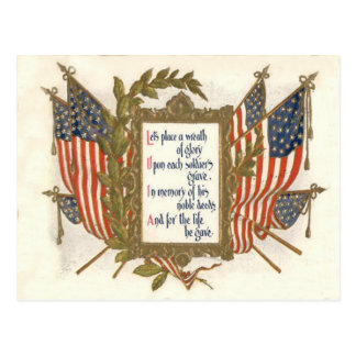 US-Flaggen-Kranz-Volkstrauertag Postkarte