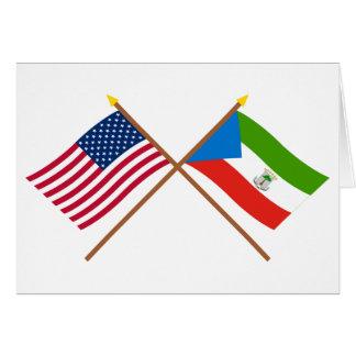 US und äquatoriale Guinea gekreuzte Flaggen Karte