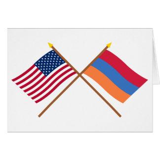US und Armenien gekreuzte Flaggen Karte