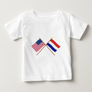 US und die Niederlande gekreuzte Flaggen Baby T-shirt