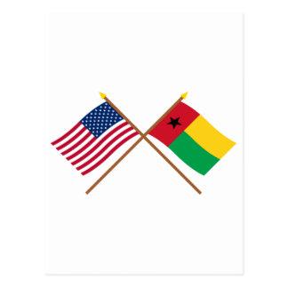 US und Guinea-Bissau gekreuzte Flaggen Postkarte