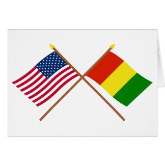 US und Guinea gekreuzte Flaggen Karte