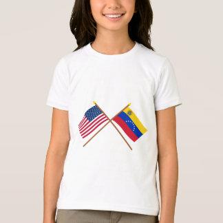 US und Venezuela gekreuzte Flaggen T-Shirt
