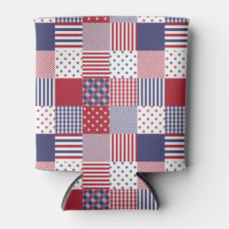 USA-AmericanaPatchwork-rotes weißes u. blau Dosenkühler