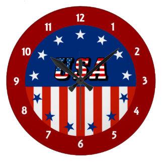 USA - Amerikanische Flagge und Sterne im Kreis Große Wanduhr