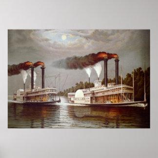 USA-Dampfer-Rennen19. jahrhundert Poster