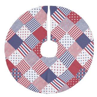 USA diagonale rote weiße u. blaue Leinenimitat Weihnachtsbaumdecke