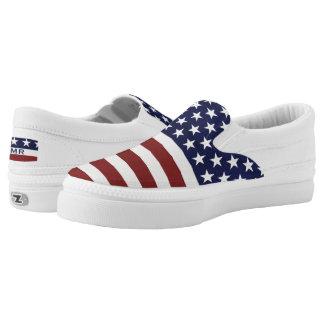 USA-Flagge-am 4. Juli Monogramm Beleg-Auf Slip-On Sneaker