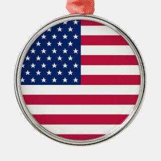 USA-Flagge spielt patriotisches Weihnachten Silbernes Ornament