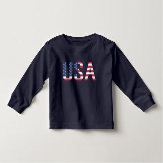 USA-Flagge-Text-weißer Stern-roter blauer Streifen Kleinkind T-shirt