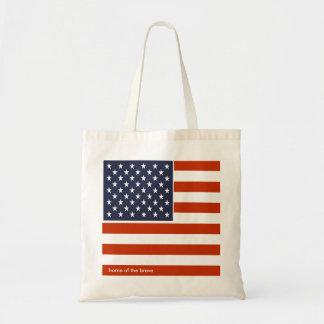 USA-Flagge Zuhause der tapferen patriotischen Tragetasche
