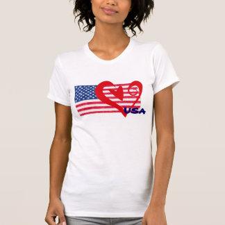 USA-Flaggen-Herz-Shirt Hemden