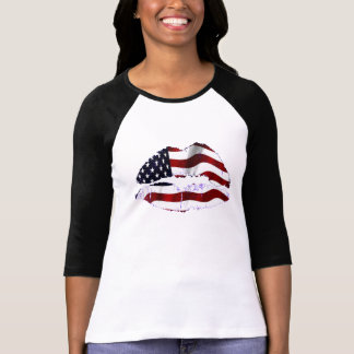 USA-Flaggen-Lippen T-Shirt