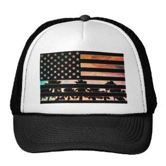 USA-Flaggen-Palme-Sonnenuntergang-Hut Netzmütze