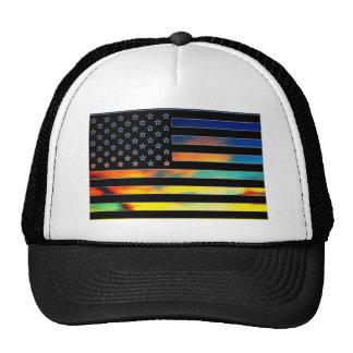 USA-Flaggen-Sonnenuntergang-Hut Truckerkappe