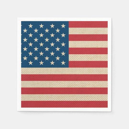 USA-Imitatleinwandflagge Papierservietten
